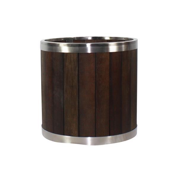"""Jardinière ronde, 12"""" x 12"""", bois, brun foncé"""