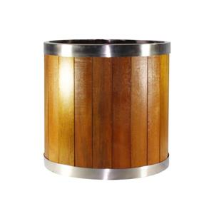 "Jardinière ronde, 10"" x 10"", bois, brun"