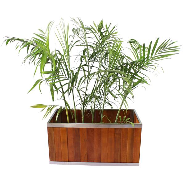 Leisure Season Rectangular Planter - 14-in x 14-in - Wood - Brown