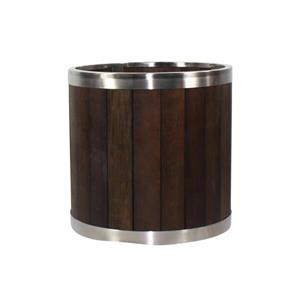 """Jardinière ronde, 10"""" x 10"""", bois, brun foncé"""
