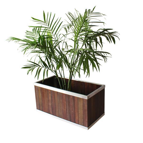 Leisure Season Rectangular Planter - 16-in x 16-in - Wood - Dark Brown