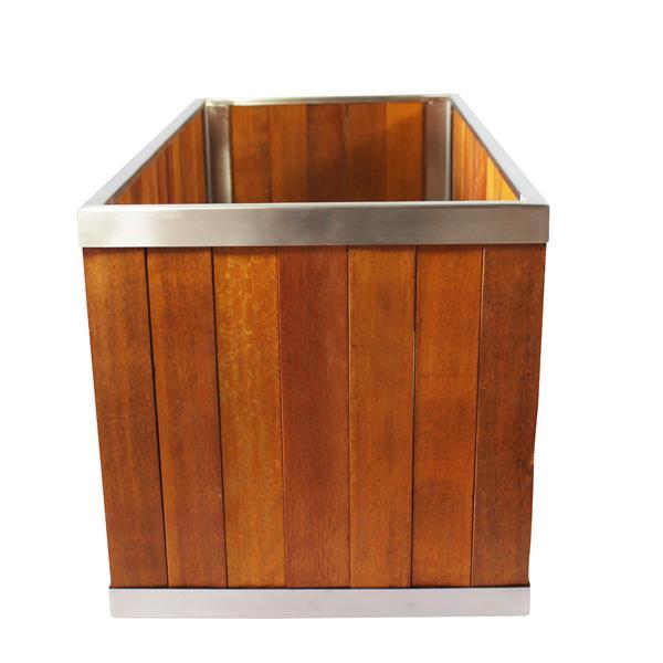 """Jardinière rectangulaire, 10"""" x 10"""", bois, brun"""