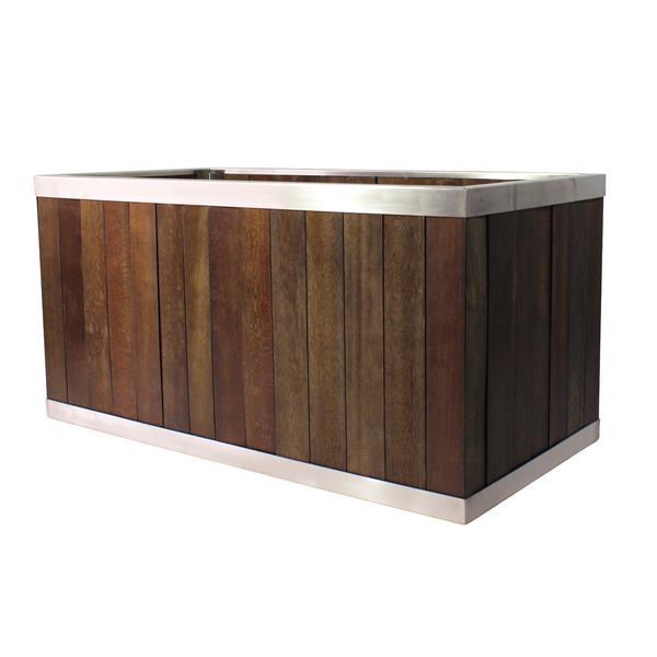 Leisure Season Rectangular Planter - 10-in x 10-in - Wood - Dark Brown