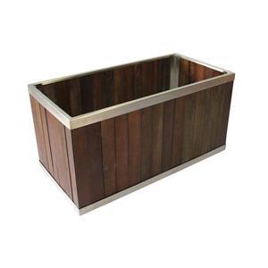 """Jardinière rectangulaire, 10"""" x 10"""", bois, brun foncé"""