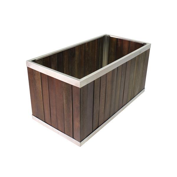 """Jardinière rectangulaire, 12"""" x 12"""", bois, brun foncé"""