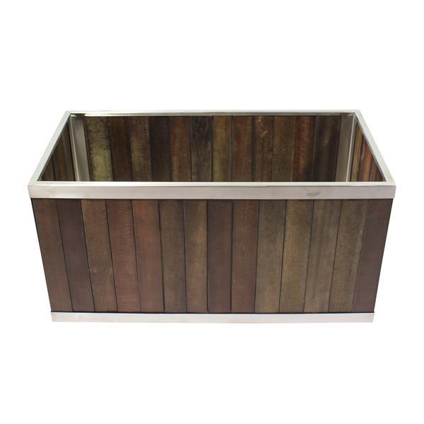 Leisure Season Rectangular Planter - 14-in x 14-in - Wood - Dark Brown