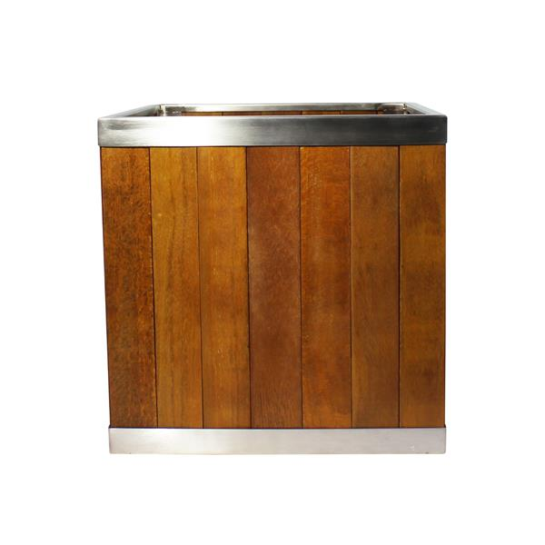 Leisure Season Square Planter - 14-in x 14-in - Wood - Brown