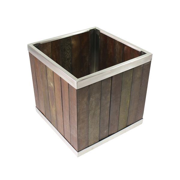 Leisure Season Square Planter - 16-in x 16-in - Wood - Dark Brown
