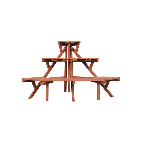 Leisure Season 3-Tier Plant Stand - 38-in x 24-in - Wood - Brown
