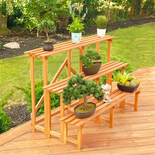 Leisure Season 3-Tier Plant Stand - 48-in x 32-in - Wood - Brown