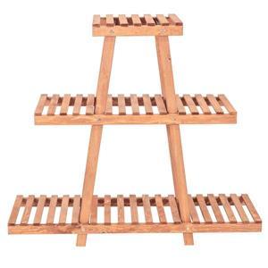 """Support à plantes à 3 niveaux, 35"""" x 32"""", bois, brun"""