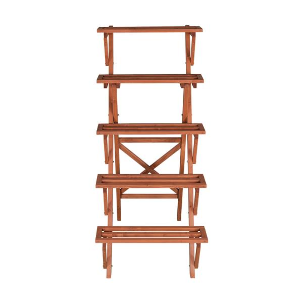 Leisure Season 5-Tier Plant Stand - 36-in x 59-in - Wood - Brown