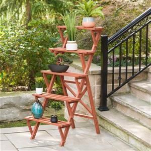 """Support à plantes à 5 niveaux, 36"""" x 59"""", bois, brun"""