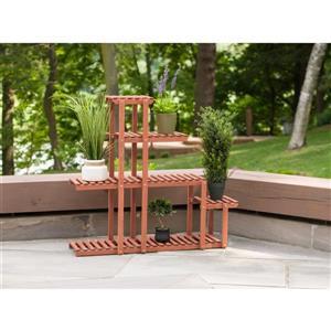 """Support à plantes à niveaux, 40"""" x 37"""", bois, brun"""
