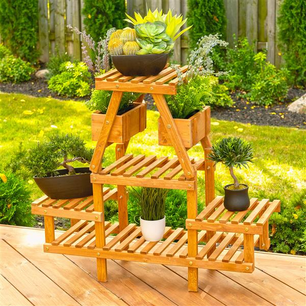 Leisure Season 4-Tier Plant Stand - 35-in x 32-in - Wood - Brown