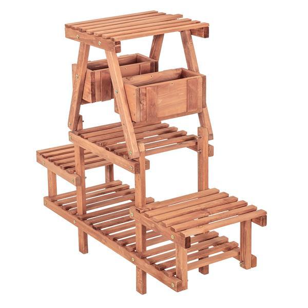"""Support à plantes à 4 niveaux, 35"""" x 32"""", bois, brun"""