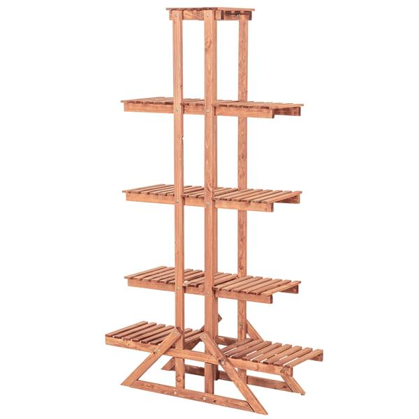Leisure Season 5-Tier Plant Stand - 33-in x 57-in - Wood - Brown