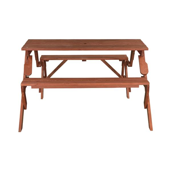 Leisure Season Convertible Picnic Table - Bench - 58-in x 30-in - Brown