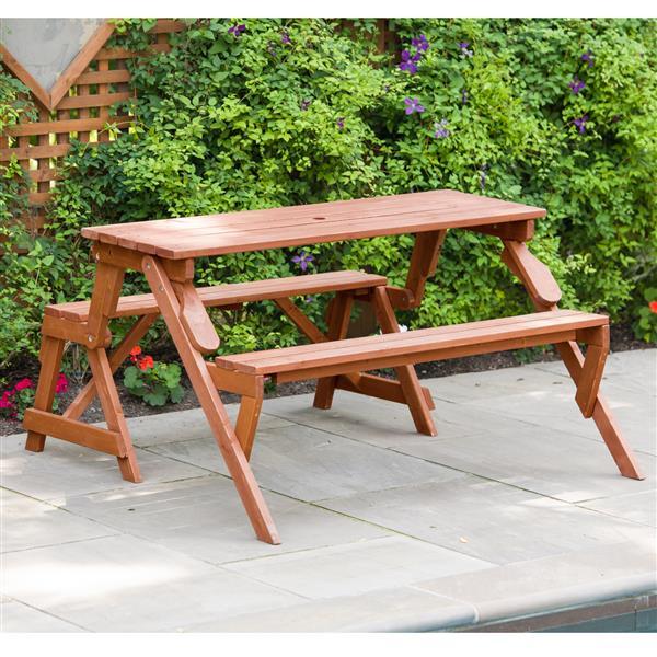 """Table de pique-nique pliable, banc, 58"""" x 30"""", brun"""