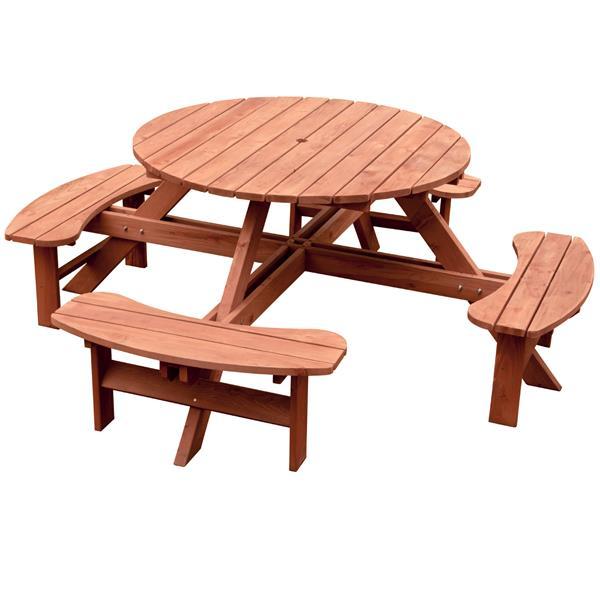 "Table de pique-nique ronde, 82"" x 30"", cèdre, brun"