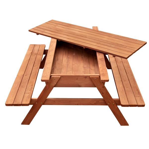 Leisure Season Picnic Table With Storage - 71-in x 29-in - Cedar - Brown