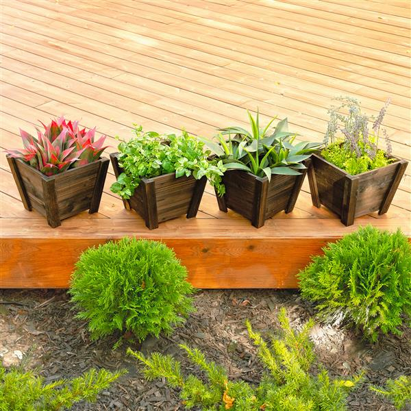 Leisure Season Tapered Planters - 12-in x 10-in - Cedar - Brown