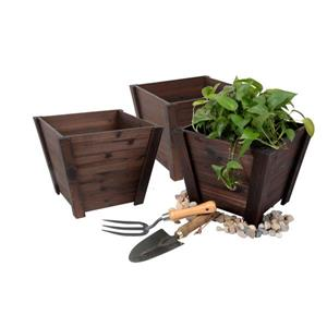 Leisure Season Tapered Planters - 16-in x 13-in - Cedar - Brown