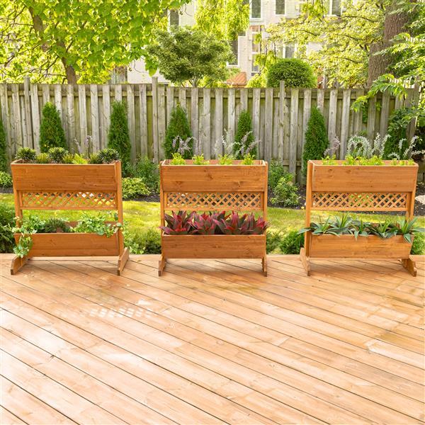 Leisure Season 2-Tier Divider Planter - 32-in x 32-in - Cedar - Brown