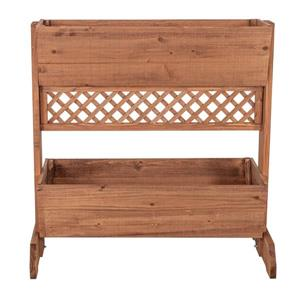 Leisure Season 2-Tier Divider Planter - 32-in x 32-in - Cedar - Brown