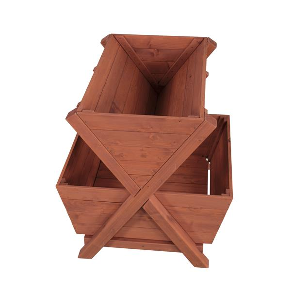 Leisure Season 2-Tier Planter Box - 31-in x 32-in - Cedar - Brown