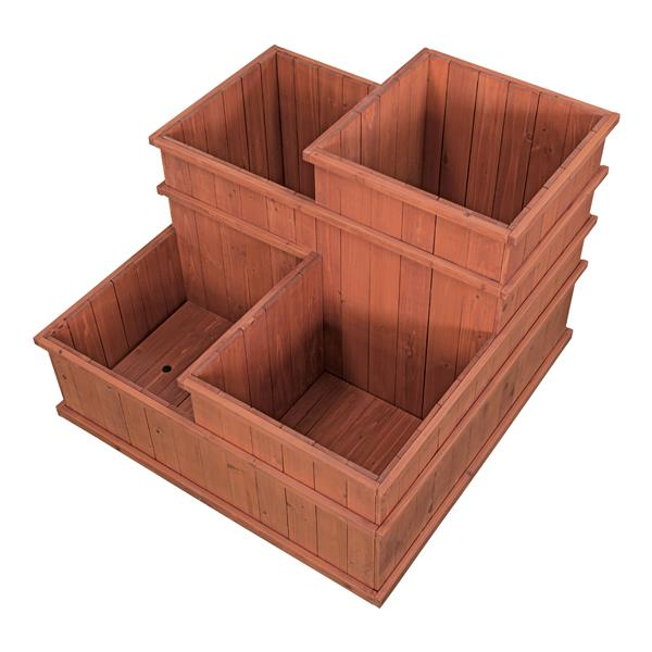 Leisure Season Multi Level Planter - 32-in x 24-in - Cedar - Brown