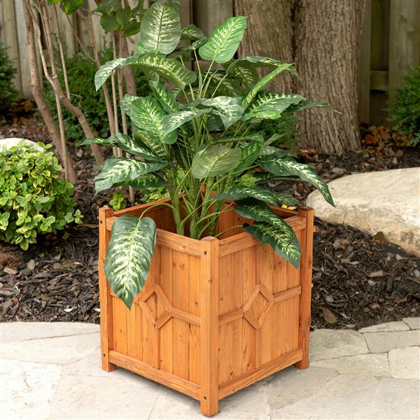 Leisure Season Chester Square Planter - 16-in x 18-in - Cedar - Brown