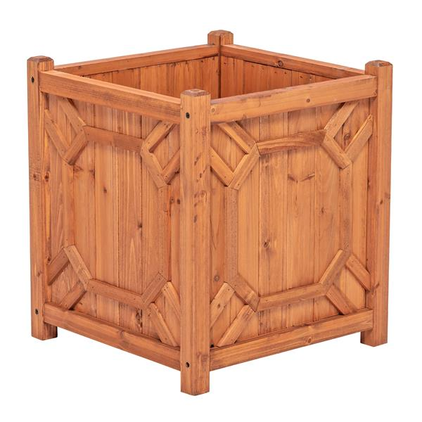 Leisure Season Warwick Square Planter - 16-in x 18-in - Cedar - Brown