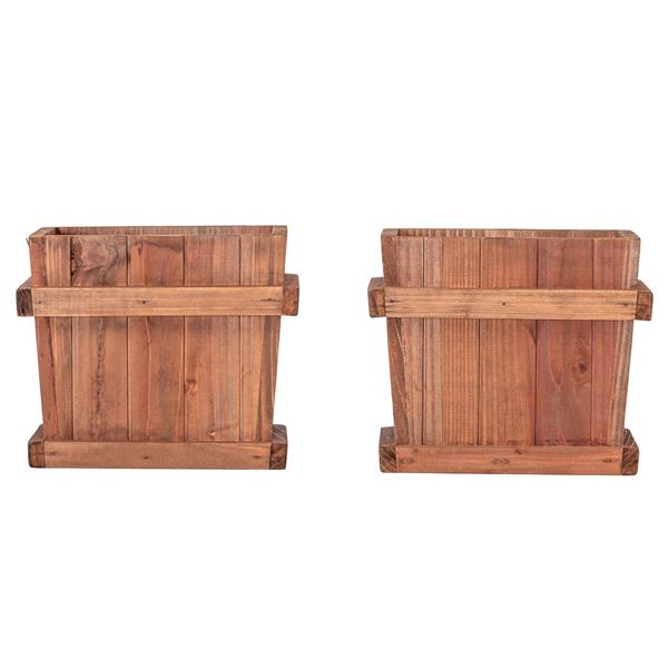 Leisure Season Chatham Square Planters - 8-in x 7-in - Cedar - Brown - 2 pcs