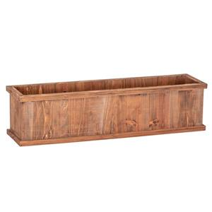 Leisure Season Brighton Rectangular Planter - 32-in x 8-in - Cedar - Brown