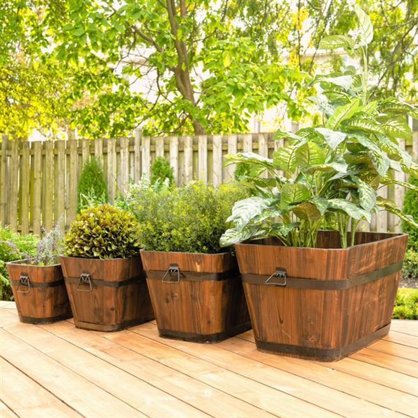 Leisure Season Rectangular Planters - 27-in x 16-in - Cedar - Brown - 4 pcs