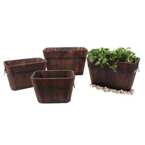 Leisure Season Rectangular Planters - 27-in x 16-in - Cedar - Brown - 4 pcs