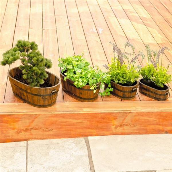 Leisure Season Oval Planters - 18-in x 7-in - Cedar - Brown - 4 pcs