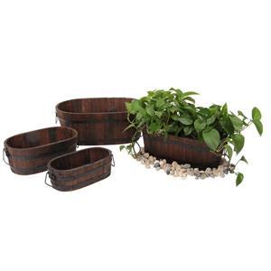 "Jardinières ovales, 18"" x 7"", cèdre, brun, 4 mcx"
