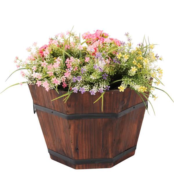 Leisure Season Octagonal Planters - 15-in x 9-in - Cedar - Brown - 5 pcs