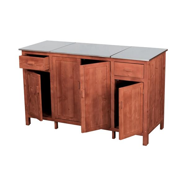 Leisure Season Buffet Server With Cooler - 60'' x 36'' - Wood - Brown