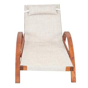 Leisure Season Reclining Sling Lounge Chair - 76'' x 25'' - Wood - Brown