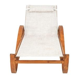 Leisure Season Reclining Sling Chaise Lounge - 79'' x 27'' - Wood - Brown