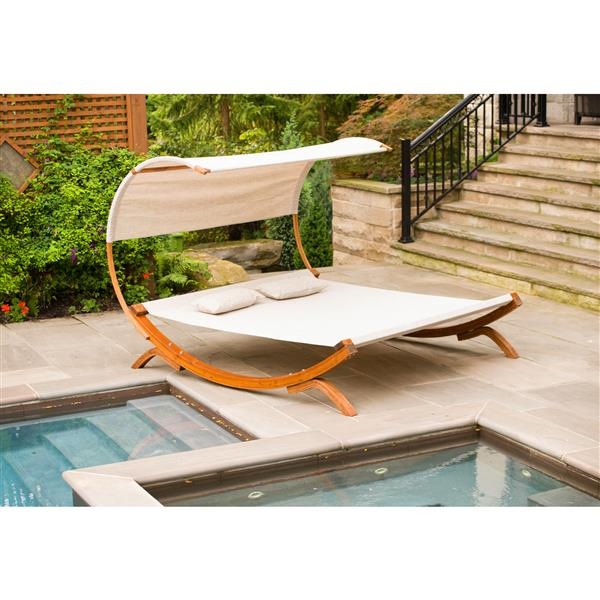 Leisure Season Sun Bed with Canopy - 78.74'' x 67'' - Olefin - Brown