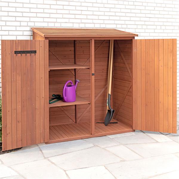 Leisure Season Storage Shed - 59'' x 65'' - Cedar - Brown