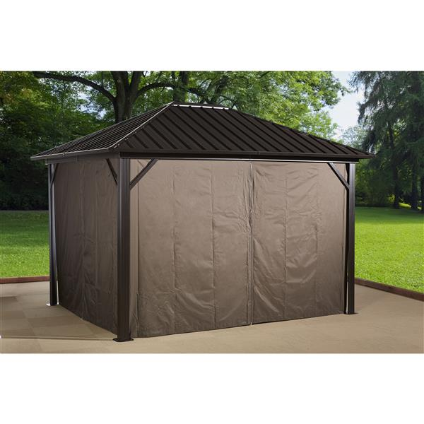 Sojag Genova Privacy Curtains for Sun Shelter - Brown -(4) 10-ft x12-ft