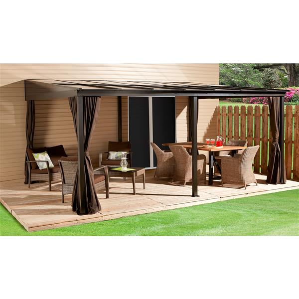 Sojag Pompano Wall-Mounted Sun Shelter - Dark Brown - 12-ft x16-ft