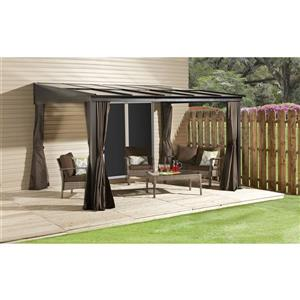 Sojag Pompano Wall-Mounted Sun Shelter - Dark Brown - 10-ft x10-ft