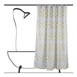 Ensemble de rideau de douche géometrique, 14 mcx, gris/vert