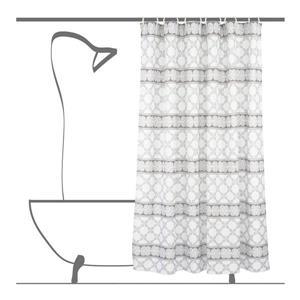 Ensemble de rideau de douche géometrique, 14 mcx, blanc